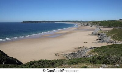 South Wales coast Three Cliffs Bay the Gower Peninsula...