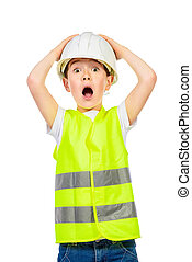 kid ocupation - Cute boy in a costume of a builder posing...