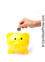 piggy bank - Piggy bank looking up for the coin isolated on...