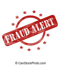 Red Weathered Fraud Alert Stamp Circle and Stars design - A...