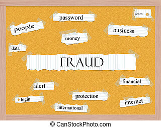 Fraud Corkboard Word Concept with great terms such as...