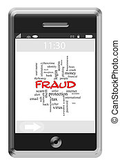 Fraud Word Cloud Concept on a Touchscreen Phone with great...