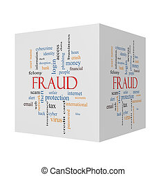 Fraud 3D cube Word Cloud Concept