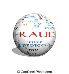 Fraud 3D sphere Word Cloud Concept with great terms such as...