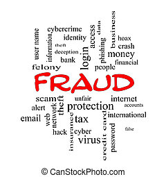 Fraud Word Cloud Concept in red caps with great terms such...
