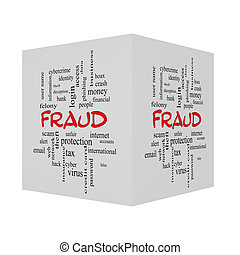 Fraud 3D Word Cloud Concept in red caps with great terms...