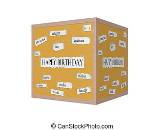 Happy Birthday 3D Corkboard Word Concept with great terms...