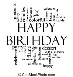 Happy Birthday Word Cloud Concept in black and white