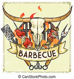 BBQ Grill label design - Vector Illustration with sample...