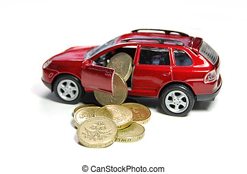 Car finance - Pound coins pouring out of a toy car