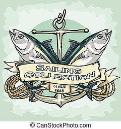Nautical Label with sample text, Sailing Collection,...