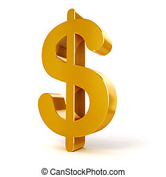 3d gold Dollar currency symbol on white background