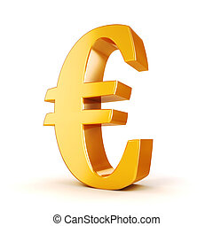 3d gold Euro currency symbol on white background