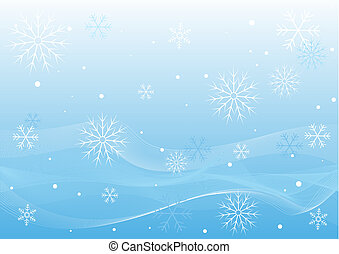 Winter White Waves - Pretty Winter Blue Background Of White...