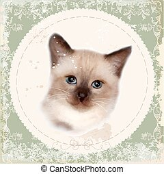 Vintage card with thai kitten. Imitation of watercolor painting.