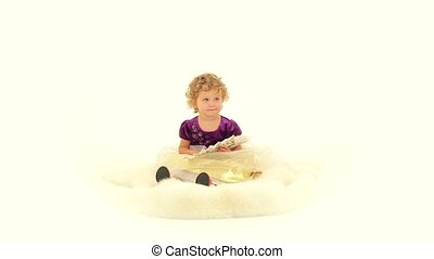 Child On A White Background - Darling little baby sitting on...