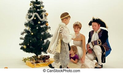 Royal Family - Happy Family celebrates Christmas noble...