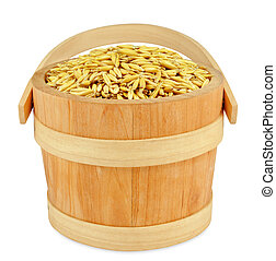 oats in wooden bucket isolated on a white background