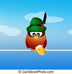 Oktoberfest owl - illustration of Oktoberfest owl