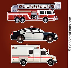 Collection of emergency cars - Vector image of collection of...