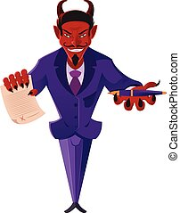 Devil - Vector image of a devil with a deal