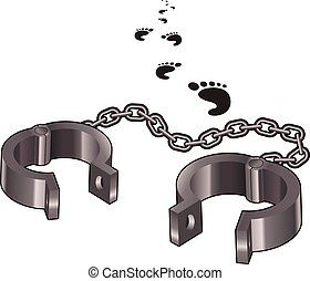 Handcuffs - Vector image of the open handcuffs and some...