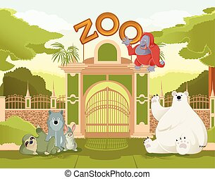 Welcome to Zoo - Vector image of a colurful zoo gate with...