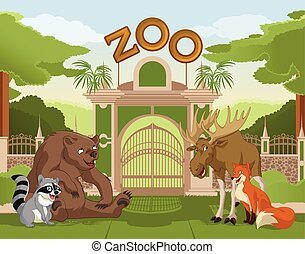 Zoo gate with forest animals 1