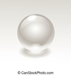 Vector glass realistic water sphere ball isolated on...