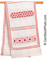 old embroidery on the simple canvas - old Ukrainian...