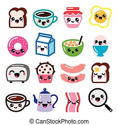 Kawaii breakfast food and beverages - Vector icons set of...