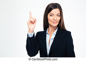 Businesswoman pointing finger up - Happy confident...
