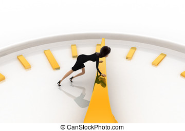 3d woman pushing lever of clock concept on white background,...