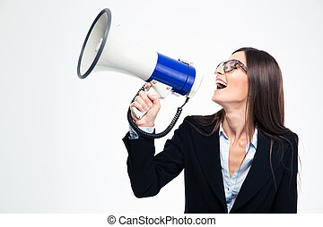 Businesswoman screaming on megaphone isolated on a white...