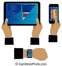 Hand with modern gadgets.