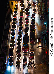automobile congestion in the night
