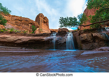 Coyote Gulch Lower Waterfall - Beautiful Waterfall on Coyote...