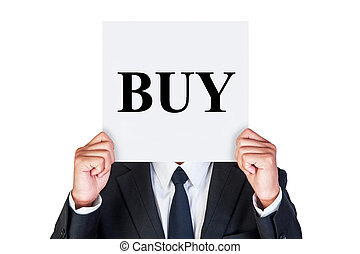 Show buy word on paper - Say buy word shown by business...