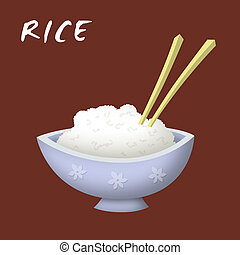 Rice Bowl - Bowl of rice cartoon with chopsticks.