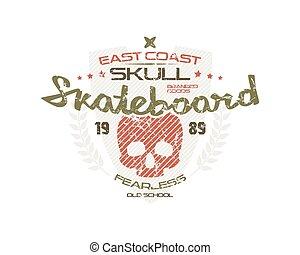 Skateboard skull emblem