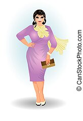 Plus size fashion business woman , vector illustration