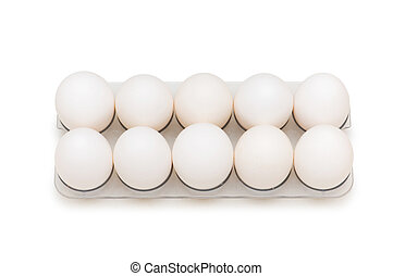 Group of eggs isolated on the white background