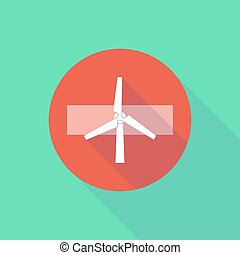 Long shadow do not enter icon with a wind generator