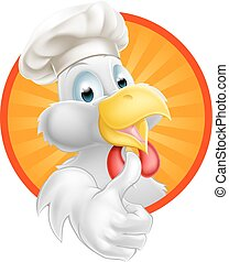 Cartoon Chef Chicken - A cartoon chicken mascot wearing a...