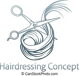 Hairdressers Scissors Cutting Hair - An illustration of a...