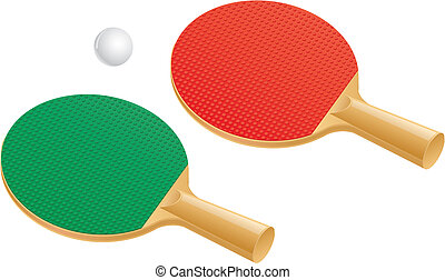 Table tennis paddles and ball - Two table tennis ping pong...