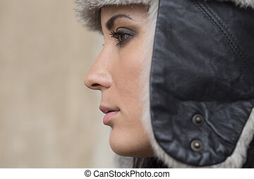 profile woman - girl with black leather hat