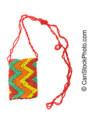 Woman bag made of colourful beads isolated on white