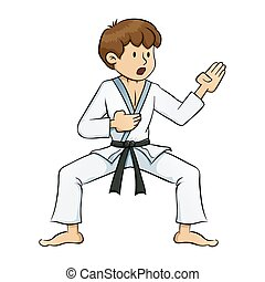 Boy Doing Karate Practise - Young boy practice martial arts...