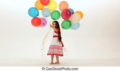 Girl Has A Lot Of Balloons